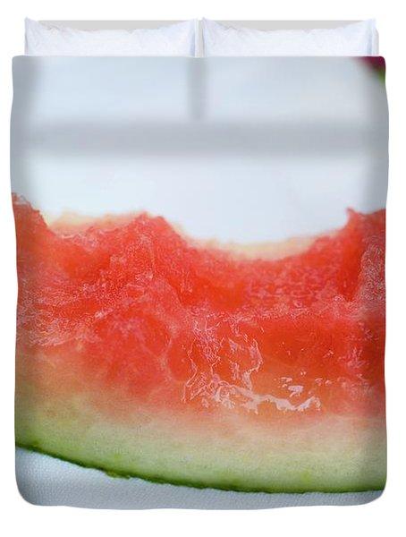Slice Of Watermelon With Bites Taken On Fabric Napkin Duvet Cover