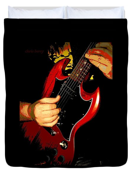 Red Gibson Guitar Duvet Cover by Chris Berry