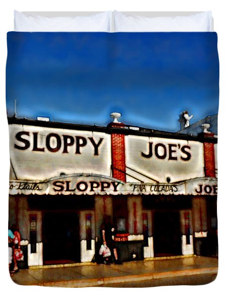Sloppy Joe's Bar Duvet Cover by Joan  Minchak