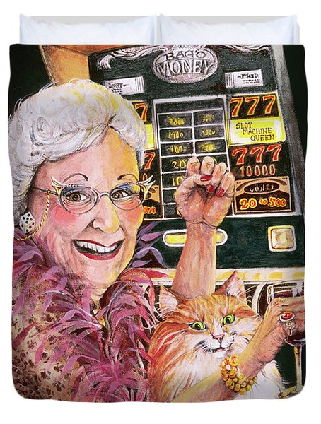 Slot Machine Queen Duvet Cover by Shelly Wilkerson