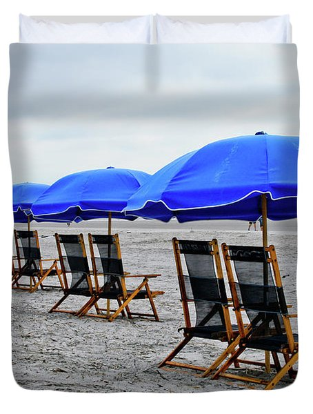 Slow Day At The  Beach Duvet Cover by Thomas Marchessault