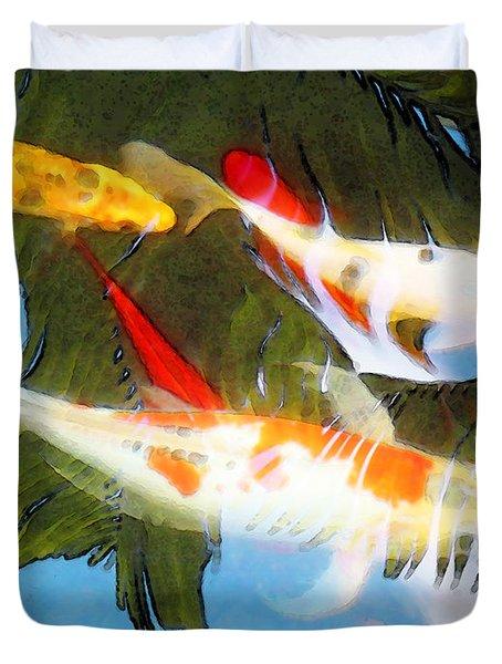 Slow Drift - Colorful Koi Fish Duvet Cover by Sharon Cummings