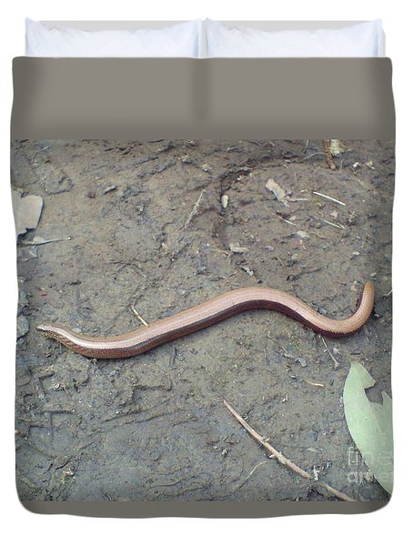 Duvet Cover featuring the photograph Slow Worm by John Williams