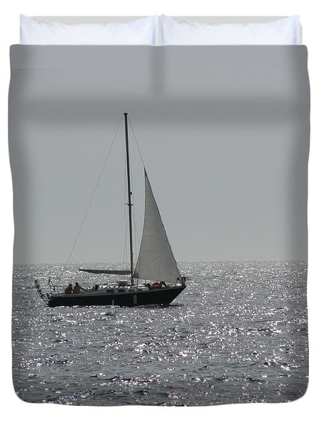 Small Boat At Sea Duvet Cover