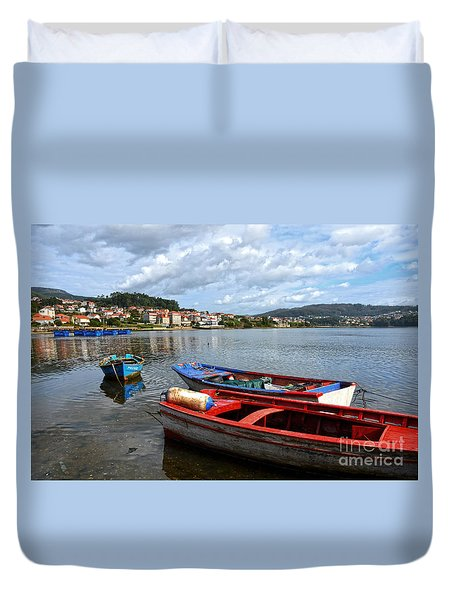 Small Boats In Galicia Duvet Cover