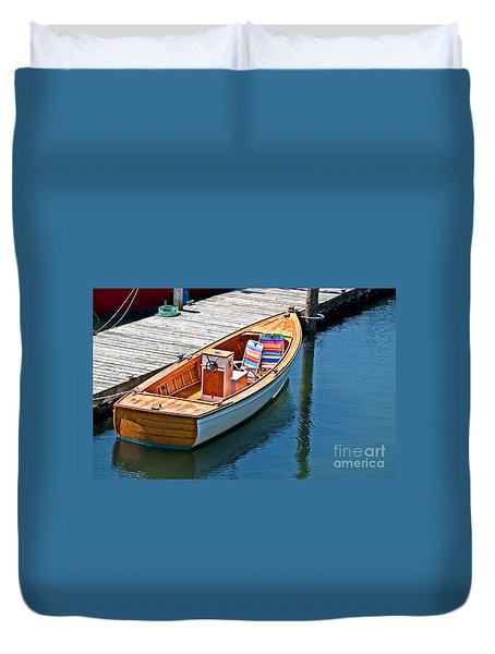 Duvet Cover featuring the photograph Small Dinghy Boat Art Prints by Valerie Garner