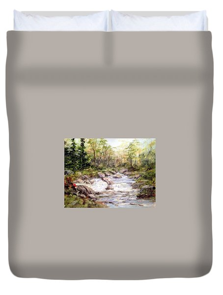 Small Falls In The Forest Duvet Cover