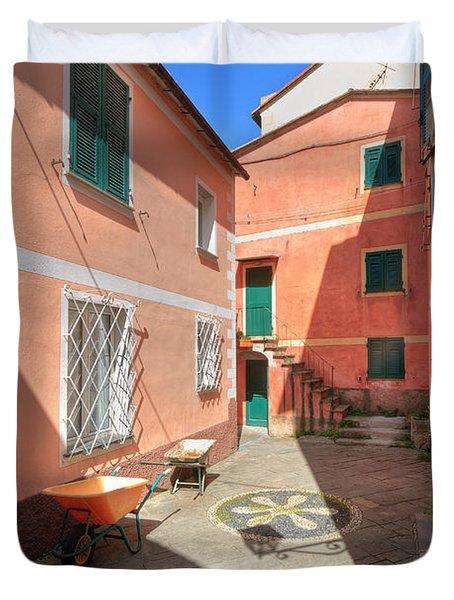 small square in Camogli Duvet Cover