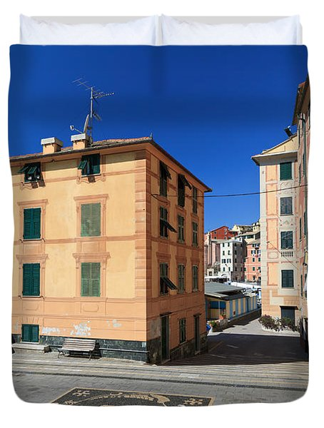 Duvet Cover featuring the photograph small square in Sori by Antonio Scarpi