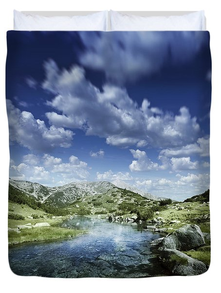 Small Stream In The Mountains Of Pirin Duvet Cover by Evgeny Kuklev