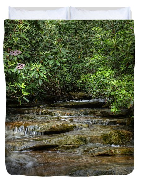 Small Stream In West Virginia With Mountain Laurel Duvet Cover by Dan Friend