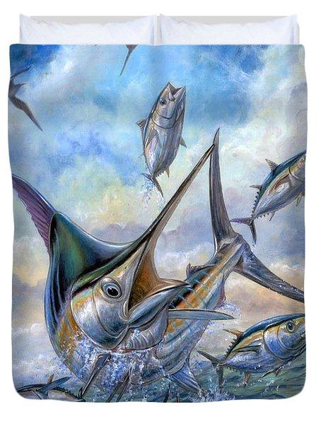 Small Tuna And Blue Marlin Jumping Duvet Cover