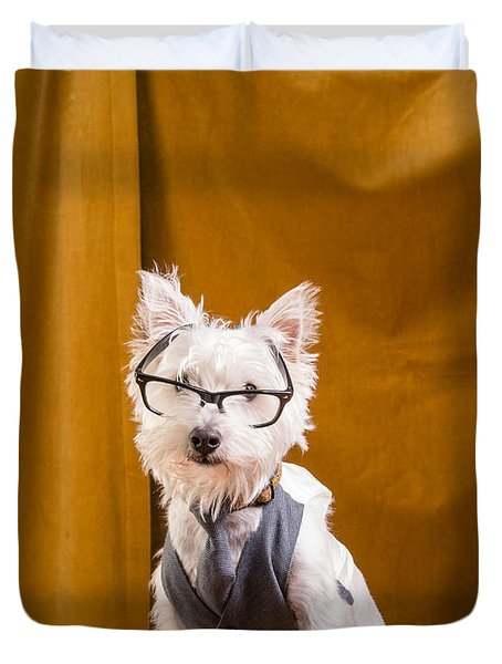 Small White Dog Wearing Glasses And Vest Duvet Cover by Edward Fielding