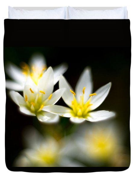 Duvet Cover featuring the photograph Small White Flowers by Darryl Dalton