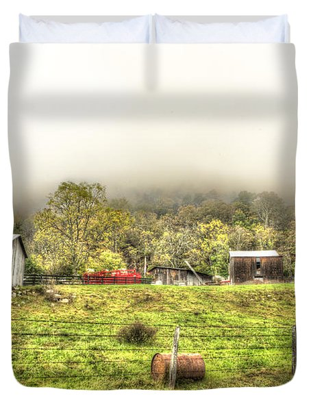Smalll West Virginia Farm Coming Out Of Clouds Duvet Cover by Dan Friend