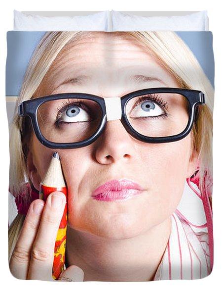 Smart Primary School Student Looking To Copyspace Duvet Cover