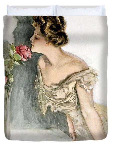 Smelling The Roses Duvet Cover by Harrison Fisher