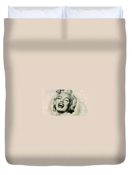 Smile Marilyn Monroe Black And White Duvet Cover