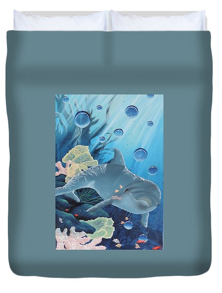 Duvet Cover featuring the painting Smiley by Dianna Lewis