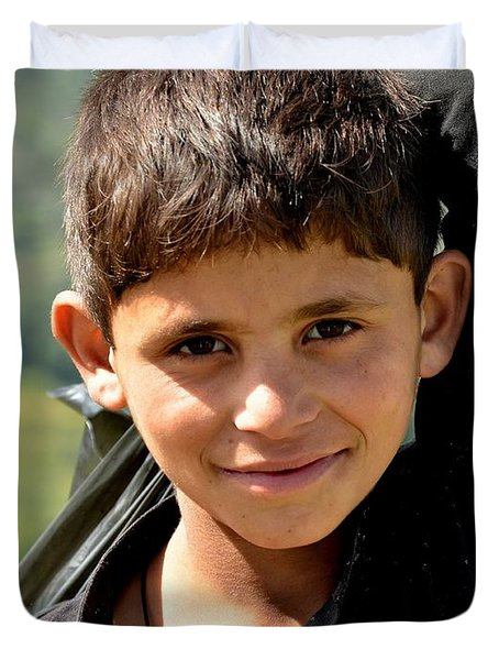 Smiling Boy In The Swat Valley - Pakistan Duvet Cover