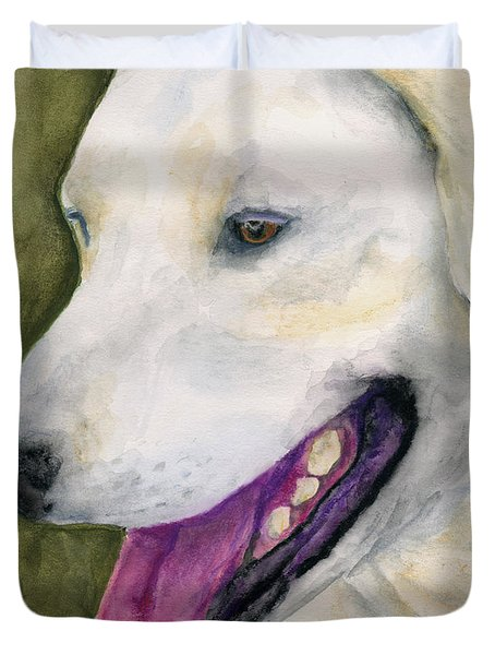 Duvet Cover featuring the painting Smiling Lab by Stephen Anderson