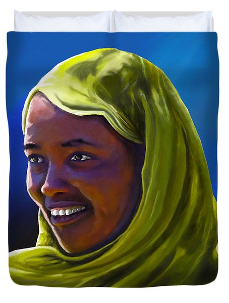 Duvet Cover featuring the painting Smiling Lady by Anthony Mwangi