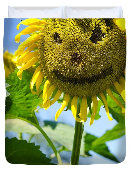 Smiling Sunflower Duvet Cover by Donna Doherty