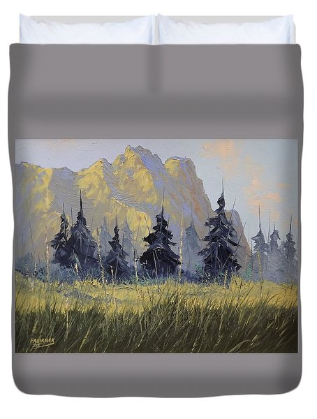 Duvet Cover featuring the painting Smith Rock Oregon by Richard Faulkner