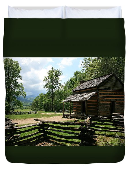 Smoky Mountain Cabin Duvet Cover