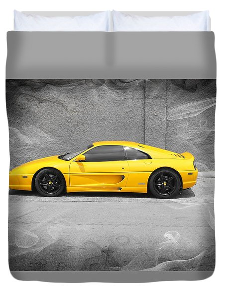 Duvet Cover featuring the photograph Smokin' Hot Ferrari by Kathy Churchman