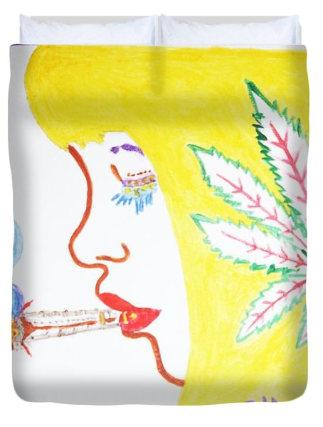 Duvet Cover featuring the painting Smoking Blonde by Stormm Bradshaw