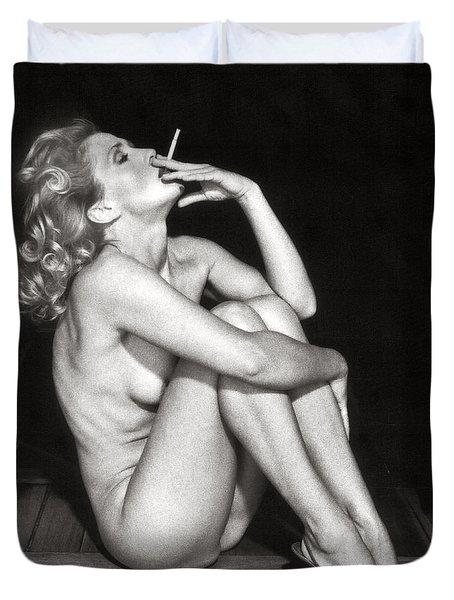 Smoking Nude  Duvet Cover