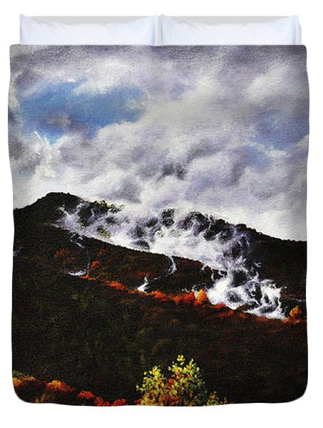 Duvet Cover featuring the painting Smoky Mountain Angel Hair by Craig T Burgwardt