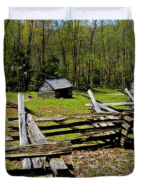 Smoky Mountain Cabins Duvet Cover by Paul W Faust -  Impressions of Light