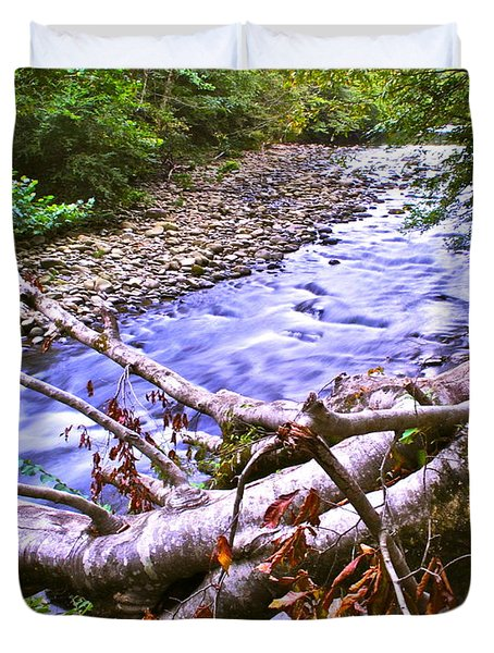 Smoky Mountain Stream Two Duvet Cover by Frozen in Time Fine Art Photography