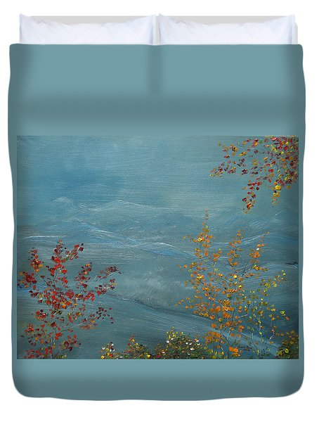Duvet Cover featuring the painting Smoky Mountains In Autumn by Judith Rhue