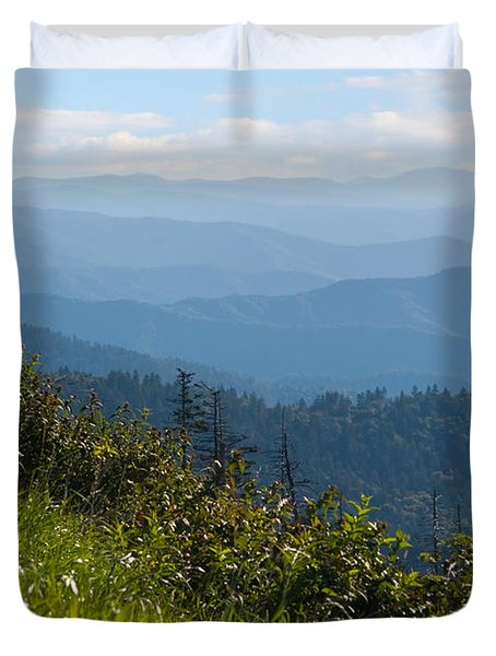Smoky Mountains View Duvet Cover by Melinda Fawver