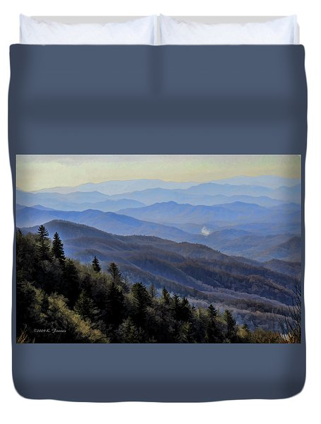 Duvet Cover featuring the photograph Smoky Vista by Kenny Francis