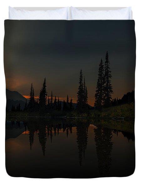 Smoldering Rainier Duvet Cover by Mike Reid