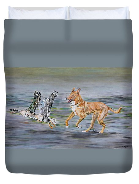 Smooth Collie Trying To Herd Geese Duvet Cover