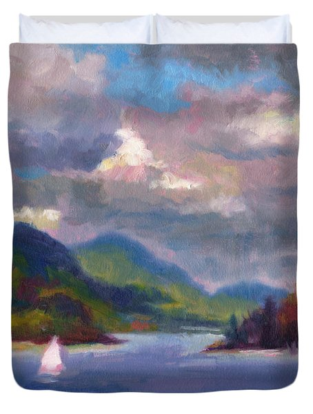 Duvet Cover featuring the painting Smooth Sailing Sailboat On Alaska Inside Passage by Talya Johnson