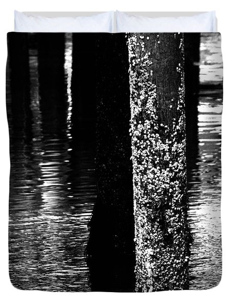 Snails In Black And White Duvet Cover