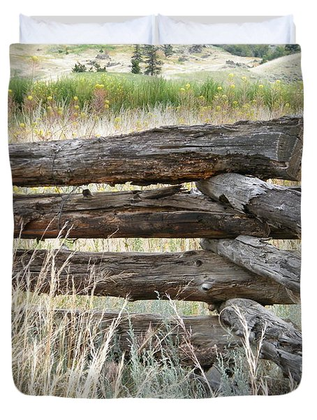 Duvet Cover featuring the photograph Snake Fence And Sage Brush by Ann E Robson