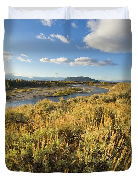 Snake River And Sagebrush Grand Teton Duvet Cover