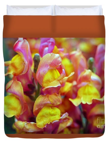 Duvet Cover featuring the photograph Snapdragons by Cassandra Buckley