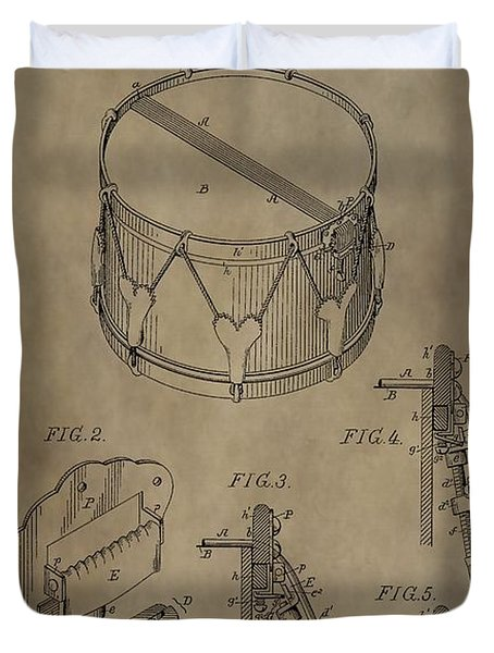 Snare Drum Patent Duvet Cover by Dan Sproul