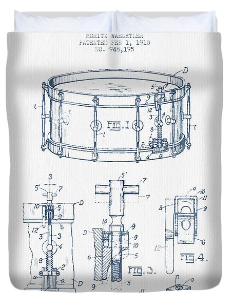Snare Drum Patent Drawing From 1910  - Blue Ink Duvet Cover