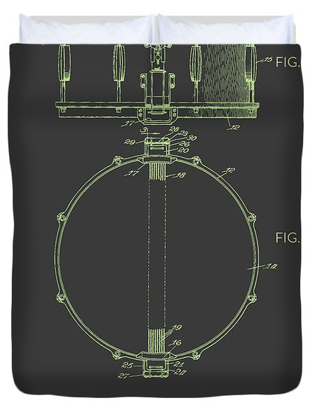 Snare Drum Patent From 1939 - Gray Green Duvet Cover by Aged Pixel