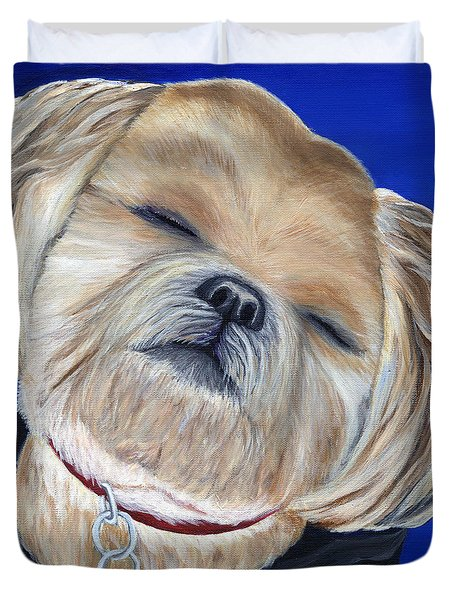 Duvet Cover featuring the painting Snickers by Michelle Joseph-Long