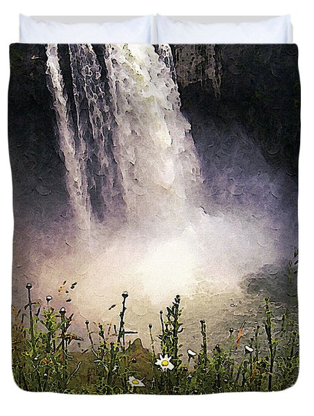 Snoqualmie Falls Wa. Duvet Cover by Kenneth De Tore